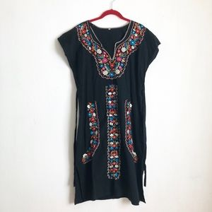 Vintage mexican embroidered floral dress black M